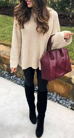 winter fashion trends / nude sweater + bag + black skinnies + over knee boots