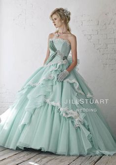 Pastel green gown