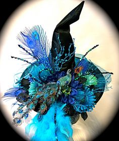 Blue Danube Witch Hat Peacock Halloween Costume by Marcellefinery