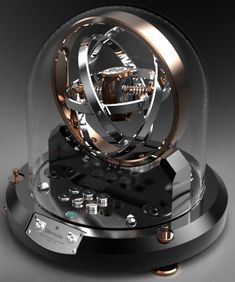 German company Döttling have created the Döttling Gyrowinder. Modeled after gyroscopes, which help astronauts prevent spatial disorientation, the Watch Box, Watch Case, Ice Watch, Most Popular Watches, Watch Storage, Watch Display, Instruments, Beautiful Watches, Glass Domes