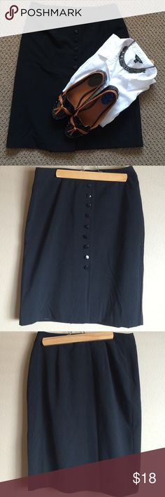 Dress Barn Fully Lined Black Pencil Skirt Dress Barn Fully Lined Black Pencil Skirt.    Waist Measures 32 inches, Length is 23 1/2 inches, front button closure(8 buttons), Polyester, rayon, spandex blend. Last picture shows buttons Dress Barn Skirts Pencil
