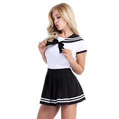 Get those schoolboys hot under the collar when you turn up on your night out with your best friends dressed in the Naughty School girls Costume. All thats needed to complete this look is a bad attitude and some nerdy specs! It's the ultimate Hallo. Hot Outfits, Skirt Outfits, Female Outfits, Naughty School Girl Costume, Halloween Fancy Dress, Halloween Cosplay, Halloween Costumes, Surfer Girl Style, Girls Uniforms