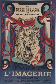 """""""9e SALON DE L'IMAGERIE 1949"""" Affiche originale entoilée  Litho LEBLANC  44x64cm"""