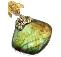 $85.95 Queen+Bee+AAA+Fire+Labradorite+Gold+Over+Oxidized+Sterling+Silver+Pendant…