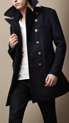 Burberry; Lightweight wool-blend naval-inspired coat with set-in sleeves