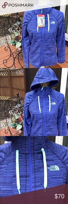 NWT The Northface Novelty Mezzal zip up fleece M New with tags The Northface women's relaxed fit hooded zip up light weight fleece jacket Novelty Mezzal size medium. The color is a blue/purple with stripes and has mint green The Northface embroidered on front. The North Face Tops Sweatshirts & Hoodies