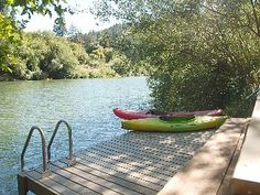 Russian River house photo - View of river from dock (dock has bench seat, kayaks and canoe provided)