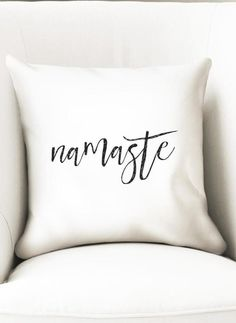 Namaste throw pillow cover in black and white. Great for a yoga studio, meditation room or home decor that will suit any house style.  Last pillows available, once its sold out, it will be discountinued.  Closes with a zipper at the bottom. Measures 35cm (14). Fits 14 inch fillers. The cover is made