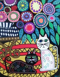Note composition - Kerri Ambrosino Art PRINT Mexican Folk Art Black by kerriambrosin