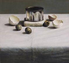 "Andrew Hemingway: ""Still Life Arrangement with Venetian Marble on Damask"". Pastel."