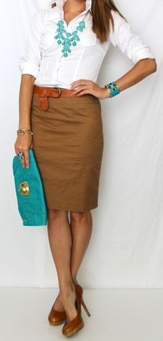 See, I like this look, but how am I supposed to move my arms in a tight button up, and I've learned from experience how difficult it is to move around campus, especially where stairs are involved in a pencil skirt and heels.