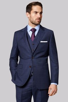 Navy three piece suit with a light blue shirt purple silk tie white pocket square Navy Check Suit, Navy Blue Suit, Big And Tall Suits, Mens Big And Tall, Men's Fashion, Mens Fashion Blog, Fashion Ideas, Fashion Suits, Plus Size Mens Suits
