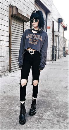 """""""You should have listened to your mother"""" top with choker, sunglasses, black ripped pants, belt & Dr Martens boots by jaglever"""