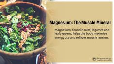 Magnesium can help the body maximize energy use and relieves muscle tension – yes even your pelvic floor muscles. Bonus: getting at least 300 mg a day (about 2 cups of greens) can minimize constipation and PMS symptoms! University Of Colorado, Muscle Tension, Energy Use, Pelvic Floor, Pms, What You Eat, Health Diet, Muscles, Improve Yourself