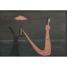 "Gertrude Abercrombie, (American, 1909-1977) ""Trapped""  1950,  oil on board,  signed and dated lower right,  5"" x 7"""