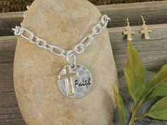 "Silver ""Faith"" Cross Necklace Set"