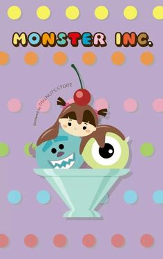 Disney Tsum tsum x ice cream ~ monster inc (sulley, mike, boo) Cute Panda Drawing, Sugar Icing, Tsumtsum, Disney Tsum Tsum, Disney Posters, Kawaii, Monsters Inc, Mobile Wallpaper, Icecream