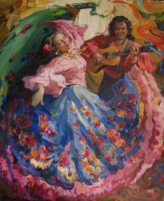 """Dança Cigana"" Gypsy Culture, Gypsy Women, 70s Sci Fi Art, Dance Paintings, Spanish Art, Gypsy Life, Dance Art, Mexican Art, Painting Inspiration"