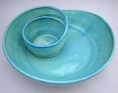 Pottery dip bowl #chips #bowl #pottery #dip #clay