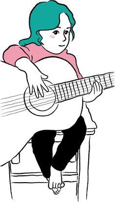 Dibujo de mi sobrina Azul #guitar #Illustration #bluehair #littlegirl #Draw #azul