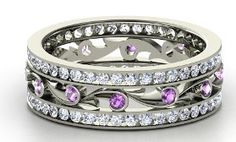 Amethyst & Diamonds Band