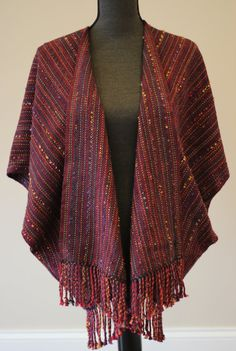 Handwoven Saco (Unstructured Jacket) in Luxurious Wool and Silk Ruby Red with Indigo and Copper