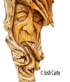 Pipe Wood Spirit Carving Smoking Wood Face by JoshCarteArt on Etsy