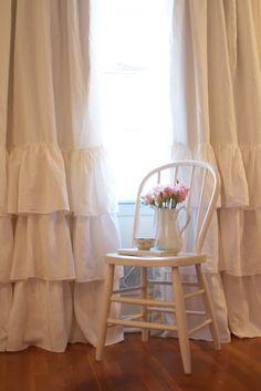 Cream Ruffled Linen Curtains 0 Ruffled linens on Etsy!