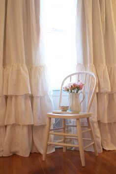Cream Ruffled Linen Curtains 0 Ruffled linens on Etsy!