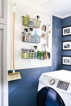 7 Must-Have Laundry Room Organizing Solutions | blesserhouse.com - 7 essential items to get your laundry room organizing off like a well-oiled machine- how to organize cleaning supplies, laundry items, and household tools. #laundryroom #organization