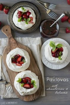 These airy pavlovas are crowned with softly whipped cream and topped with a sweet strawberry balsamic jam. You'll love this pillowy light baked meringue dessert! Meringue Desserts, Fun Desserts, Dessert Recipes, Baked Meringue, Strawberry Balsamic, Yummy Food, Tasty, Cooking Recipes, Healthy Recipes