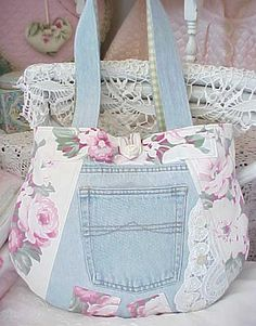 Recycled Denim Blue Jeans Tote by ruth Denim Purse, Tote Purse, Tote Bags, Denim And Lace, Blue Denim, Jean Purses, Denim Ideas, Denim Crafts, Recycled Denim