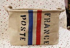 Love! Jute/cotton  Storage Box / fabric storage basket / by Lostpigeon, $16.50
