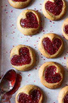 PEANUT BUTTER AND JELLY HEART SHAPED THUMBPRINT COOKIES