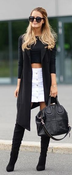Black Ad White Casual Chic Outfit Idea by Annette Haga #black