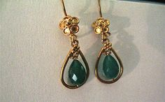 Emerald Green Faceted Briolette Gemstones.  Approx 9 X 6mm Stones.  Earring findings and Hooks 24k gold Vermeil