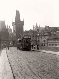 A tram crosses Prague's famous Charles Bridge (Karlův most) in this photo by Jan Srp from Not something you will see today. Old Pictures, Old Photos, Prague Czech Republic, Medieval Town, Historical Architecture, Budapest, Places To Travel, Beautiful Places, Around The Worlds