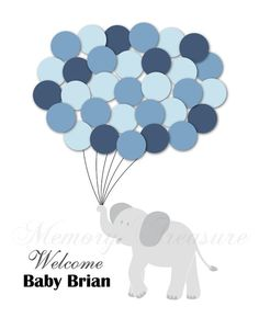 Baby Shower Guest Book Alternative Elephant Children Kid Birthday Balloons Poster Print Guest Sign Personalized Unique Creative Fun Original