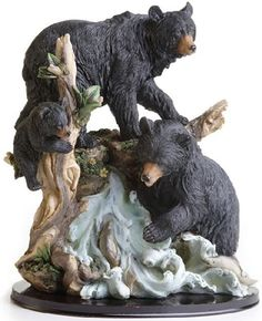 "Amazon.com: Custom & Unique {13"" Inch} 1 Single Large, Home & Garden ""Standing"" Figurine Decoration Made of Resin w/ Outdoorsy Rustic Nature Mountain Bear Family Climbing Style {Black, Tan & White Color}: Home & Kitchen"