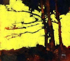 Semiabstract landscape original tree painting by PaulBaileyArt, £60.00