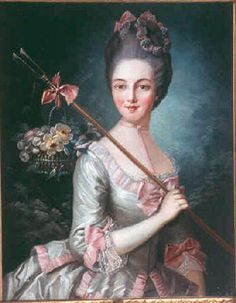 Adélaïde Victoire de Pelissier des Granges (1772-1827) The high coiffure with straight front and curls when viewed from the sides date this to the early 1770s. Her split bodice ends in a series of peplum panels edged with pink.