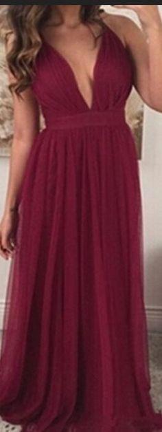 Plus Size Burgundy Prom Dresses For Teens,Women Dresses,Long Chiffon Prom Dresses,Simple Evening Dresses,Cheap Prom Dresses,Sexy Prom Gowns.Deep V-neck Party Dresses 2017