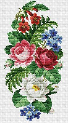 Counted Cross Stitch Pattern P Cross Stitch Rose, Cross Stitch Flowers, Cross Stitch Kits, Counted Cross Stitch Patterns, Cross Stitch Charts, Cross Stitch Designs, Folk Embroidery, Ribbon Embroidery, Cross Stitch Embroidery