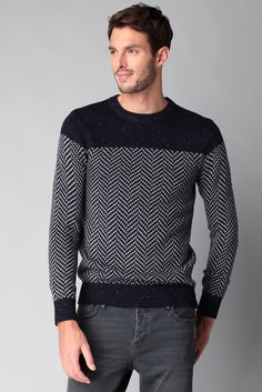 Pull navy moucheté chevrons Pierce Scotch & soda sur MonShowroom.com