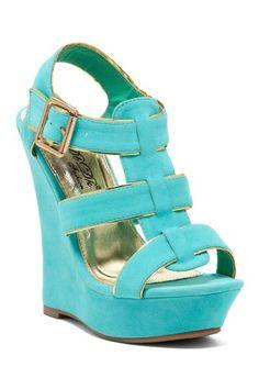 Elegant Footwear Sitely Woven T-Strap Wedge Sandal