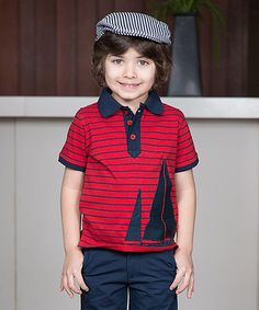 Love this Red Stripe Sailboat Polo - Kids on #zulily! #zulilyfinds