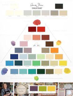 Gratis Annie Sloan kleurenkaart Annie Sloan Chalk Paint Colors, Annie Sloan Paints, Annie Sloan Colours, Annie Sloan Chalk Paint Colour Chart, Annie Sloan Chalk Paint Furniture, Paint Color Chart, Wall Paint Colors, Paris Grey, Complementary Colors Examples