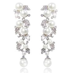 EVER FAITH® Bridal Ivory Color Cream Simulated Pearl Leaf Dangle Earrings Clear Austrian Crystal ** Continue to the product at the image link.
