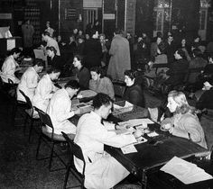 Patients registering for the new NHS at the Royal London Hospital in Whitechapel, April 1949.