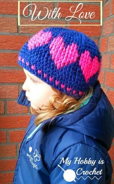 A Hat With Love - Free Crochet Pattern:http://www.myhobbyiscrochet.com/2014/12/a-hat-with-love-free-crochet-pattern.html